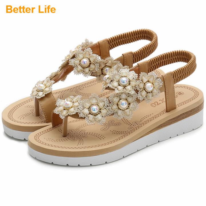 Ladies Fashion Pearl Flower Soft Sandals Hot Sale Women's Open Shoes Beach Party Flip Flops Slippers Apricot 42