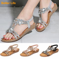 Summer Wedge Fashion Open Sandals Shoes Women's Soft Office Flip Flops Beach Slippers Quality Sliver 36