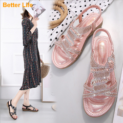 Summer Wedge Open Shoes Sandals for Women Casual Beach Slippers Shoes Bohemian Beaded Flip Flops Pink 36