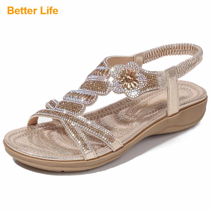 Summer Wedge Open Shoes Sandals for Women Casual Beach Slippers Shoes Bohemian Beaded Flip Flops Golden 42