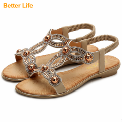 Fashion Flat Sandals for Women Casual Beach Open Shoes Platform Bohemian Beaded Flip Flops Apricot 36
