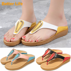 Office Ladies Bohemia Sandals T strap soft Women's Shoes Etiquette Banquet Party Flip Flops White - Yellow 35