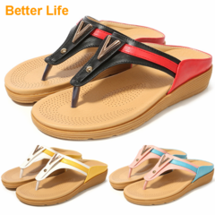 Women's Summer Ceremonial Sandals Shoes Ankle T-Strap Thong Great Flat Flip Flops Ladies Open Shoes Black - Red 35