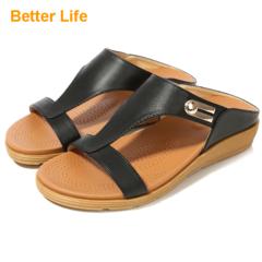 Women's Atlantic Pepper Platform Sandals Ladies Wedge Comfort Open Shoes and Flip Flops for Walk Black 35