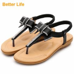 Maasai Bow-knot Flat Heel Sandals,soft&comfort flip flops for office slippers women's Open shoes Black 35