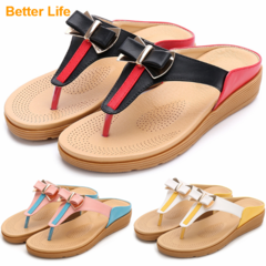 Bow knot Soft Maasai Sandals,Leather comfort flip flops for office slippers women's Open shoes Black*Red 35