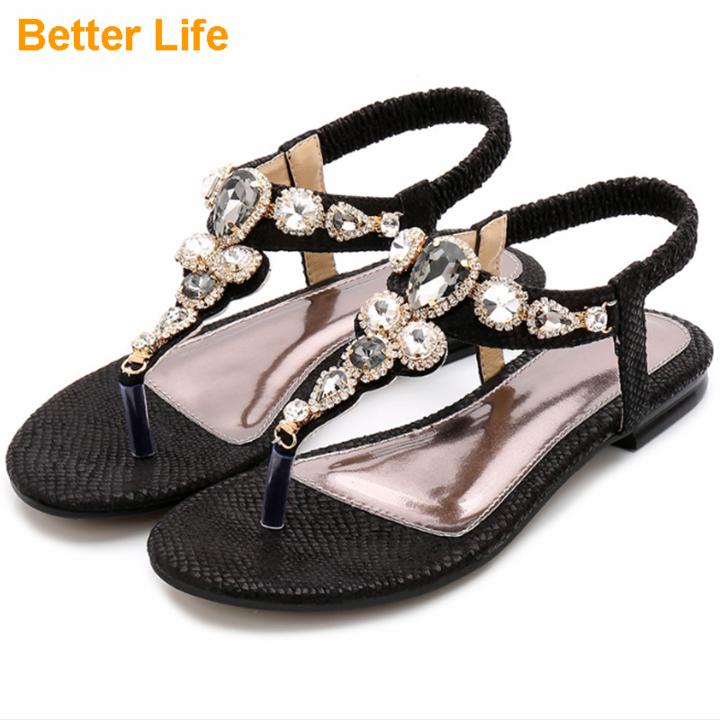 Maasai Women's Gift Flat Sandals Banquet Flip Flops Thong T-Strap Bead Shoes Bohemia Elastic Slip On Black 45