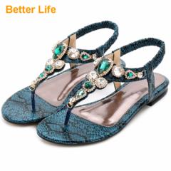 Maasai Women's Gift Flat Sandals Banquet Flip Flops Thong T-Strap Bead Shoes Bohemia Elastic Slip On Green 35