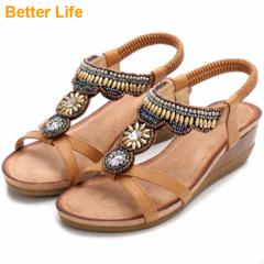 Maasai Sandal Fashion Wedge Petal Sandals Soft Leather Open Shoes Mid Heels Ladies Platform Shoes Camel 35