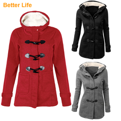 9 Colors autumn Long Coats cotton Long sleeve Ladies Hooded Jackets with cap&pockets Women's Suit Red S