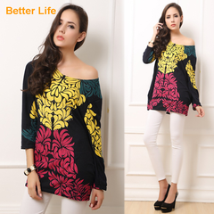 Beading Printed Off Shoulder Tops  Long Sleeve Clothes Pleated Casual Suits Flare Tunic Blouse Shirt Red*Yellow Free size