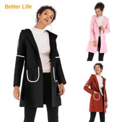 Women's Basic Essential Mid-Long Wool Jackets Blend Pea Woolen Coats Fashion Ladies office Dresses Black M