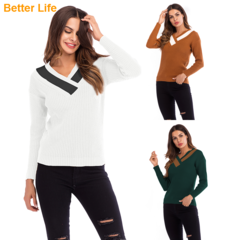 V Neck Knit Long Sleeve Slim Sweater Stretchable Elasticity Casual Tops Fashion Bottoming Shirts White M