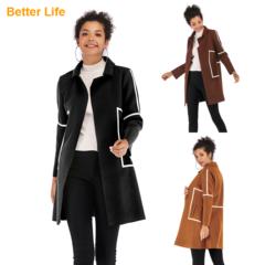 Fashion Ladies Simple Woolen Coats Fitted Design Women's Jackets Outdoor Overcoats Vests Black M