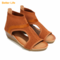 Maasai Sandal Ladies Soft Upper Wedge Sandals Wrapped Heel Office Shoes Mid Heel Women's Open Shoes Brown 42