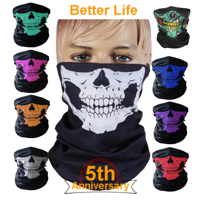 Skull Mask Scarf Joker Headband Balaclavas for Cycling Fishing Ski Motorcycle,Sport,running White