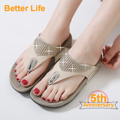 Supper Soft Leather Thick Heels Tong Beach Sandals Shining Wedge Sandwich Toe Open Shoes Maasai Apricot 35