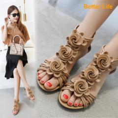 Leather Flower Wedges Soft Heels Women's Maasai Sandals Dress Platforms Ladies Roman Shoes for Party Apricot 35