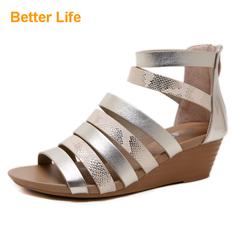 Dinner Dress Strappy Wedges Heels Oversize Roman Sandals Snake Color Shoes for Ladies Platforms Toes Golden 35
