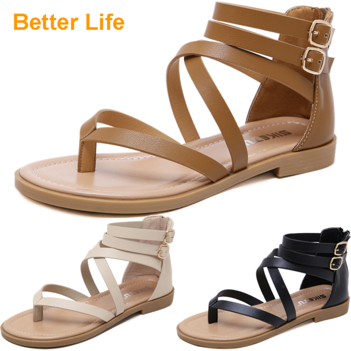 Leather Maasai Flat Sandals Women's Shoes for Dinner Dress Party Strappy Roman Flip Flops Peep Toes Brown 41