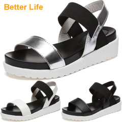 Supper Soft PU Leather Sandals Lace-up Thick Heel Shoes Platform Open Shoes Peep Toes Wedges Slipper Sliver 35