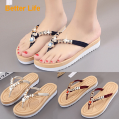 Promotion Thick Heels Tong Gemstone Sandals Soft Flip Flops Beach Slippers Rubber Sole for Party Black 35