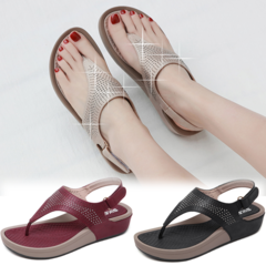 Summer Soft Dinner Velcro Wedge Sandals Lace-up Beading Platform Flip Flops Magic Sticker Heels Slip Beige 42