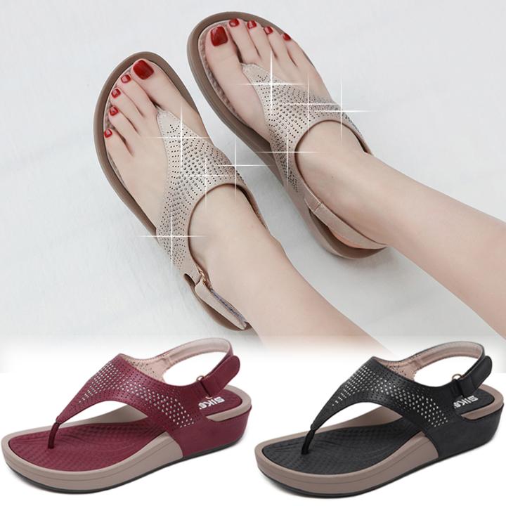 Summer Soft Dinner Velcro Wedge Sandals Lace-up Beading Platform Flip Flops Magic Sticker Heels Slip Beige 42