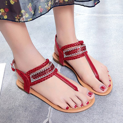 Soft Insole Women's Flats Shoes with Beading Lace-up Promation Flip Flops Hot Sale Slipper Flip Flop Red 36
