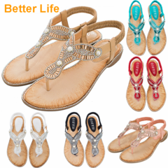 Women's Wedge Sandals Pearl Summer Gladiator Sandals Flip Flops Beach Party Open Shoes Slippers Apricot 36
