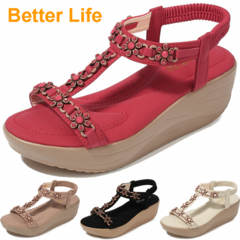 Ladies Soft Platform Heel Sandals Lace-up Flowers Open Shoes Beach Flip Flops Office High Heels Gift Red 36