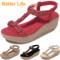 Ladies Soft Platform Heel Sandals Lace-up Flowers Open Shoes Beach Flip Flops Office High Heels Gift Red 36