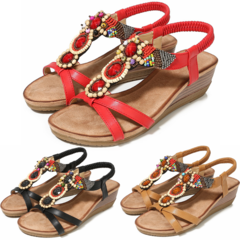 Maasai Sandals Women's Beading Wedge Shoe Daily Ladies Open Shoes Lace Slip on Leather Women's Shoes Red 35