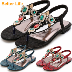 Maasai Sandal Gorgeous Rite Ladies Tong Flat Sandals Soft Comfort Women's Court Shoes Slip on feet Black 45