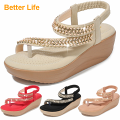 Soft Platform Wedge Heel Sandals Women's Tong Open Shoes Officer Lace Ladies Flip Flops Beach Party Apricot 42