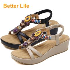 Rubber Sole Soft Platform Sandals Wedge Heel Open Shoes Classic Fashion Beading Flip Flops Lace-up Black 35