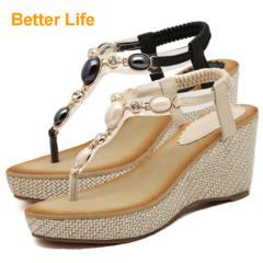 8cm Women's Wedges Heels Pearl Manis Toe Ladies Shoes with Platforms High Tops Midfeet Party Dinner Black 35