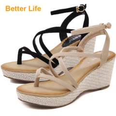 Ladies Wedges Sandasl Strappy Sendals Tali Party Women's Platforms Shoes Causal Dinner Heels Apricot 35