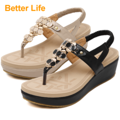 Women's Platforms Sandals Soft Lace-up Wedges Beach Tong Toe Thick Heels Shoes Apricot 35