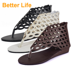 Mesh Hole Sandals Summer Korean Sexy Fish Scale Flat Grid Breathable Women's Shoes Black 35