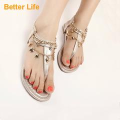 Ladies Sandals Metal Chain Drape Luxury Flip Flops Roman Dinner Casual Party Toe Flat Shoes Golden 35