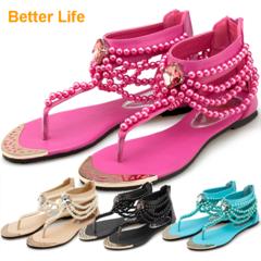 Bohemian Ethnic Sandals Beaded Toe Women's Flat Casual Beach Shoes Causal Flip Flops Hot Flippers Pink 35