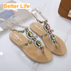 Women's Lace-up Strappy Ethnic Flip Flops Colorful Beading Toe Sandals Flippers Party Shoes Apricot 35