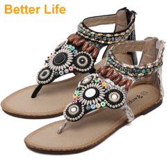 Bohemian Ethnic Pinched Flat Sandals Beaded Women's Soft Flip Flops for Dinner Party Open Shoes Black 35