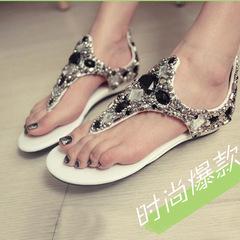 Tali Sandals Rhinestone Wedges Soft Heel Beaded Ethnic Sandal Women's Flip Flops Party Dinner White 34