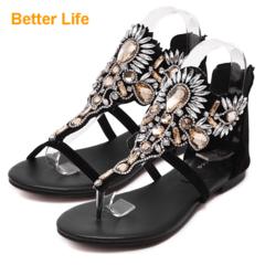 Massai Flower Inlaid Lace-up Flip Flops Gemstone Toe Open Shoes Flat Heel Sandals Soft Flippers Black(clip toe) 35