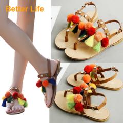 Youth Buckle Sandals Ethnic Summer Flip Flops Lace-up Tassel Flat Heel Shoes for Party Dinner Orange 35