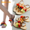 Youth Buckle Sandals Ethnic Summer Flip Flops Lace-up Tassel Flat Heel Shoes for Party Dinner Orange 35