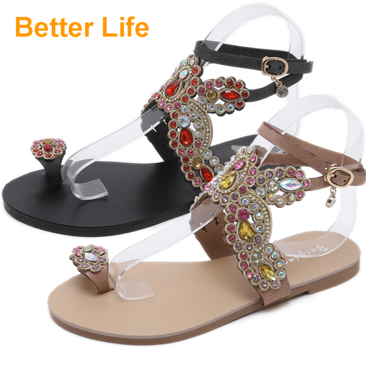 Women's  Buckle Sandals Toe Pinch Rhinestone Lace-up Tassel Flat Heel Shoes Apricot 35
