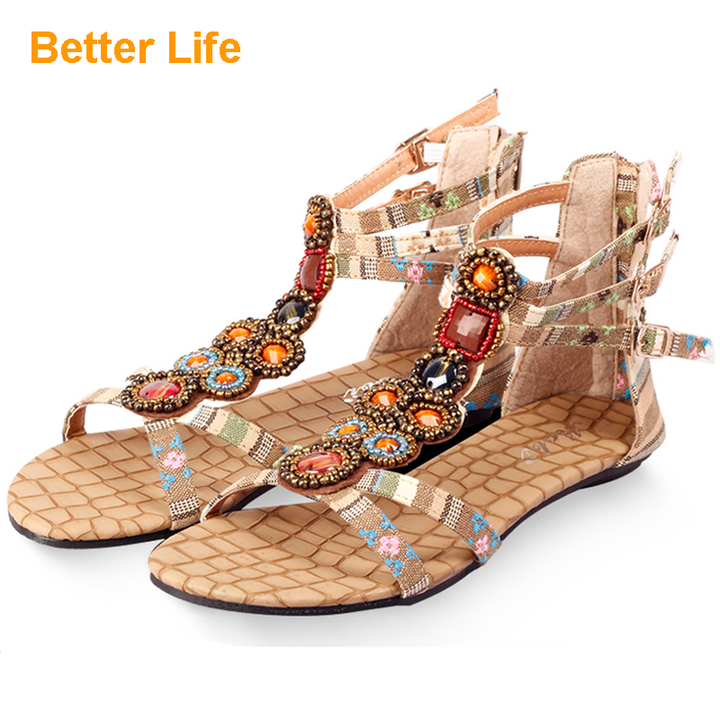 Ethnic Masaai Sandals Beaded Rhinestone Bohemian Flat Zip Women's Open Shoes for Party Dinner Apricot Yellow 34